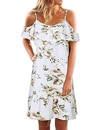 586cac44c8034f Petalum Damen Kleid Blumen Print Schulterfrei Spaghettiträger Strandkleid  Knielang Boho Sommerkleid…