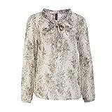 SOYACONCEPT 13348-30 Damen Bluse Schluppe zum Binden leicht transparent 1/1-Arm, Groesse XL, Ecru/Gemustert