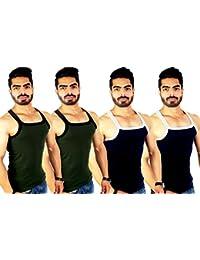 ZIMFIT Men's Cotton Gym Vest Pack of 4 (111) - (Brown_Brown_Royal_Royal)