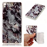 For Sony Xperia XA Case [With Tempered Glass Screen Protector],Qimmortal(TM) Silicone Case Printed Marble Stone Pattern TPU Bumper Protective Slim Gel Skin Rubber Case Flexible Shock Scratch Resist Protection Shell for Sony Xperia XA - Marble Gray