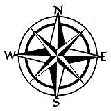 Aufkleber Kompass 15x15cm schwarz by greestick Sticker Windrose Kompassrose Decal Vinyl