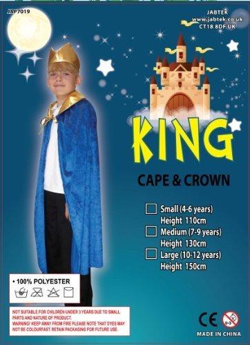 König Kostüm. Blaues Umhang und Krone. Kinder im -