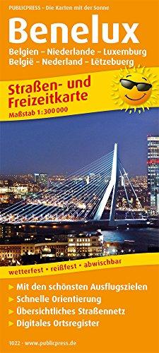 Benelux -Belgien / Niederlande / Luxemburg: Straßen- und Freizeitkarte mit Touristischen Straßen, Highlights der Region und digitalem Ortsregister. 1:300.000 (Straßen- und Freizeitkarte / StuF)