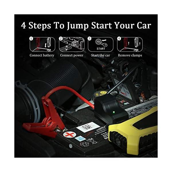 VETOMILE Arrancador de Coche 12000mAh 500A, 12V Jump Starter para Coches, Motos y Barcos (Motor de 3.0L Gas o 2.0L…
