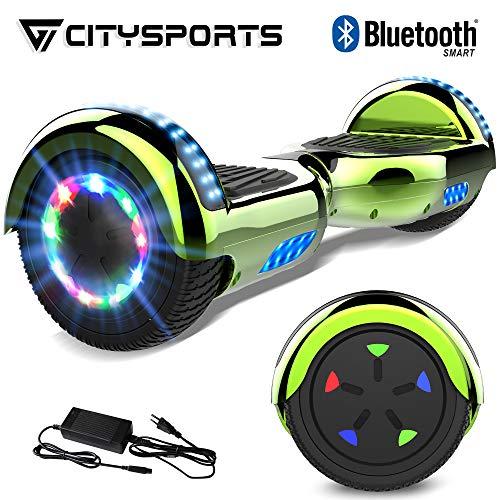 """CITYSPORTS 6.5\"""" Elektro Skateboard Board mit Bluetooth Hover Lautsprecher LED-Leuchten für Kinder und Erwachsene(Grün)"""
