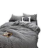 GJ Biancheria da Letto per 2 M Letto 4 Pezzi Set Federa Copriletto Fogli Quattro Stagioni Universale ( Color : Black And White Stripes )