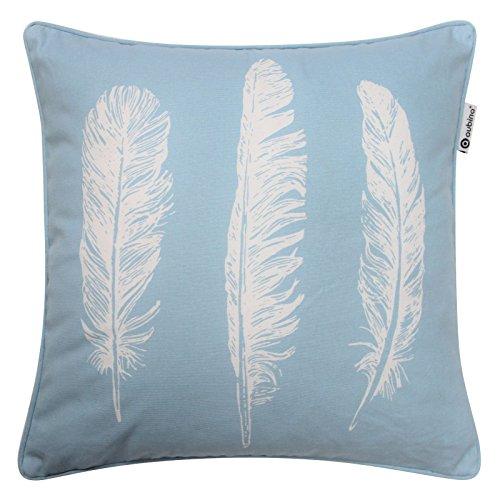 Bec-croisé Housse de coussin moderne, Plume, Luxe 100% coton imprimé draps, taies d'oreiller, 43,2x 43,2cm, 43cm x 43cm, 100 % coton, bleu canard, 43,2 cm x 43,2 cm