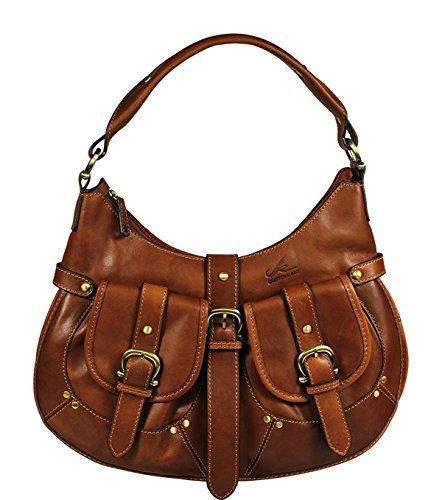 Schöne praktische Leder Braune italienische Handtasche aus hochwertigem Leder Cristina Rui 5014 über die Schulter (Braune Handtasche Leder Italienische)