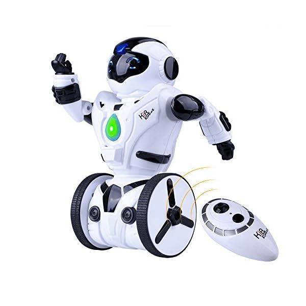 51meyAOWKKL. SS600  - Kuman Robot Multifuncional de Control Remoto para Niños 2,4 GHz, Mini Robot Electrónico, 5 Modos de Funcionamiento, Baile, Boxeo, Conducir, Cargar, Detección de Gestos, Súper divertido Robot RC 1016A