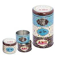 NATIVES 610190 Ton ami Lot de 3 Boîtes à thé empilables Métal Multicolore 8,5 x 8,5 x 15 cm 3 pièces