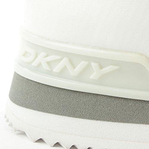 DKNY Jill Weiß Nappaleder & Glitzer Schnüren Trainer White Leather