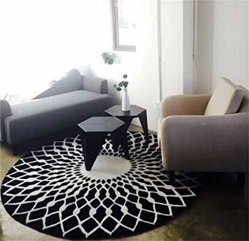 LYP-Teppiche modernen europäischen Stil Wohnzimmer Runde Teppich für Wohnzimmer Schlafzimmer Bettseite Zuhause Stuhl Groß Bereich Wolldecke Geometrisch Muster Schwarz Weiß Grau Gewaschener Couchtisch Nachttischteppich ( Farbe : Schwarz , größe : 100CM )