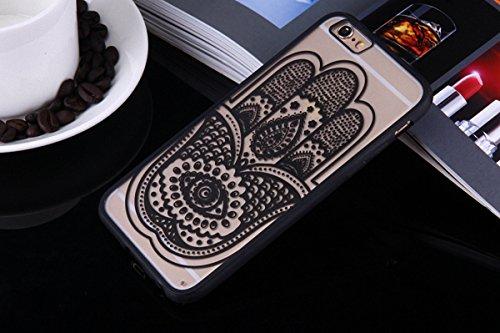König-Shop Henna Cover Handy Hülle Case Schutzhülle Bumper Tasche Indische Sonne Mandala, Für Handy:Apple iPhone 6 / 6s Plus (5.5 Zoll), Motiv auswählen:Mandala Kreis Hand Fatima