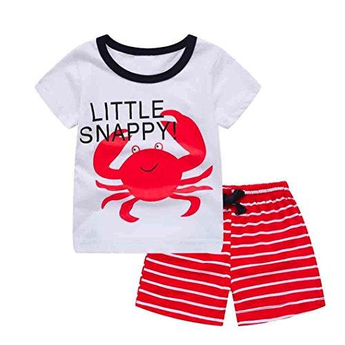 Kleinkind Kinder Baby Sommer Cartoon Tops T-Shirt Gestreifte Shorts Set Fashionable Outfits Bequem Kleidung Für Mädchen Junge (90CM, Rot)