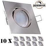 10er LED Einbaustrahler Set Silber gebürstet mit LED GU10 Markenstrahler von LEDANDO - 5W DIMMBAR - warmweiss - 110° Abstrahlwinkel - schwenkbar - 35W Ersatz - A+ - LED Spot 5 Watt - Einbauleuchte LED