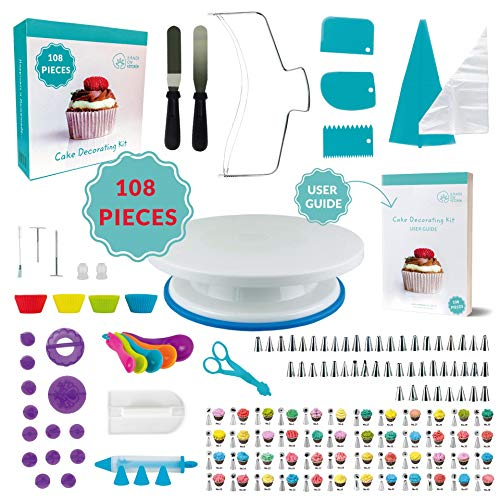 108 Pcs Cake Decorating KIT | Non-Slip Turntable | Leveler 2-Wire | 48 Numbered Icing Tips | Straight & Angled Spatulas | 10 Pastry Bags & Silicone Bag | 2 Flowers Nails & Lifter | Gift Box