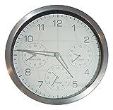 Weltzeituhr Aluminium Gebürstet 35 cm 4 verschiedene Uhrzeiten