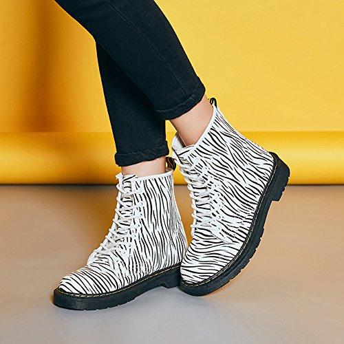 Cystyle Unisex-Erwachsene Bootsschuhe Schnürhalbschuhe Kurzschaft Stiefel Winter Boots für Damen Zebrastreifen