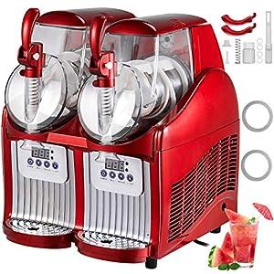 BuoQua 2x2L Rot Slusheis Maschine Slush Maker 300W Professionelle elektrische Slushmaschine 220V für Gelateria oder Bar Professionelle Granita Maschine mit 2 Gläsern