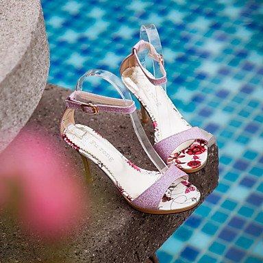LFNLYX Frauen Fersen Frühling Sommer Herbst Andere Synthetische Party & Abendkleid Casual Stiletto Ferse Gürtelschnalle Pink Lila Gold Purple
