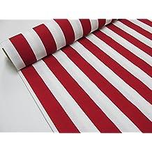 Metraje 2,45 mts tejido loneta estampada Ref. Rayas 40 Rojo, con ancho 2,80 mts.