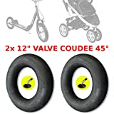 2cámaras de aire de 12pulgadas para cochecito, patinete o bicicleta de niño, Válvula acodada en ángulo de 45°