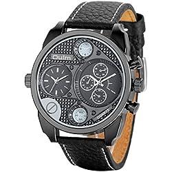 Regalo de papá Día del padre Jewelrywe Reloj de pulsera Reloj de los hombres correa de cuero Negro Sporto 2 zonas de horario