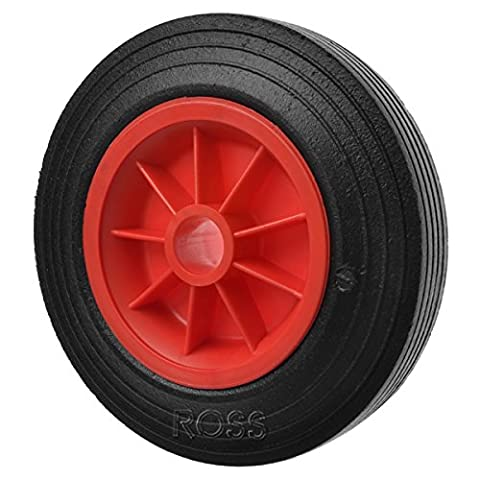 250mm light duty solid rubber wheel on a red plastic centre with a 1