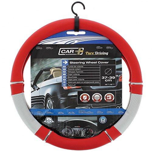 HABILL-AUTO Couvre Volant PVC Rouge-Gris Car+ pour Volant 37/39cm