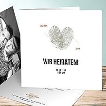 Ausgefallene Einladungskarten Hochzeit, Fingerprint 5 Karten, Quadratische  Klappkarte 145x145 Inkl. Weißer Umschläge,