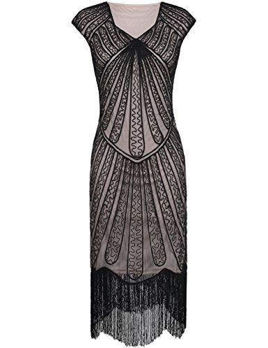 Kayamiya Damen Retro 1920er Jahre Inspirert Perlen Art Deco Franse Flapper Kleid XL Schwarz Beige