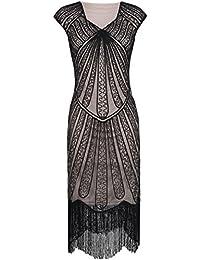 Kayamiya Damen Retro 1920er Jahre Inspirert Perlen Art Deco Franse Spitze Flapper Kleid