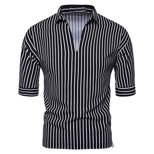 Vertikale Streifen-shirt (Herren Kurzarm Mode Vertikale Streifen T-Shirt Sport V-Ausschnitt Tee Casual Hemd Freizeit Tops Weiß Kurzarmshirt Q15)