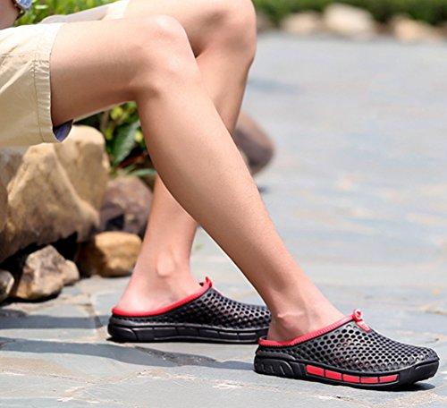 YOUJIA Unisex Sommer Casual Atmungsaktiv Clogs Strand Geschlossene Zehe Hausschuhe Pantoffeln Slippers #3 Schwarz