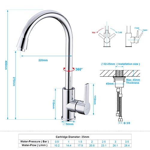 AuraLum Elegant Mischbatterie Küchenarmatur 360° drehbar Schwenkbarer Wasserhahn Armatur für Küche Waschbecken - 2