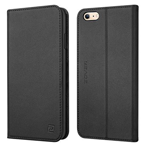 ZOVER iPhone 6S Hülle iPhone 6 Hülle Echt Leder Tasche für iPhone 6S/6 (4.7 Zoll) Handyhülle im Bookstyle mit Magnet Kartenfächer Standfunktion Schwarz