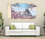 3D Wandtattoo Palast Oriental Architektur Japan rosa Tapete Wand Aufkleber Wanddurchbruch Deko Wandbild Wandsticker 11N2133, Wandbild Größe F:ca. 162cmx97cm