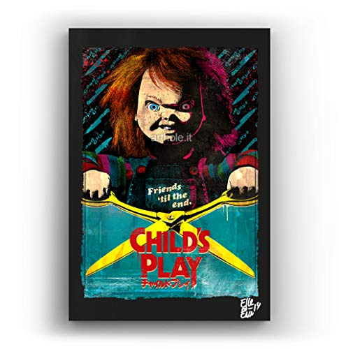 Chucky die Puppe des Films Child's Play - Original Gerahmt Fine Art Malerei, Pop-Art, Poster, Leinwand, Artwork, Film Plakat, Leinwanddruck, Horror, Halloween (2019 Halloween Film-dvd)