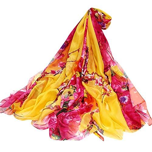 VEMOW Heißer Verkauf Elegante Frauen Damen Pfingstrose Schal Sonnencreme schal Unendlichkeit Wrap Silk Täglichen Party Workout Freizeit Schal Schals(X5-Gelb, 195cmX147CM)