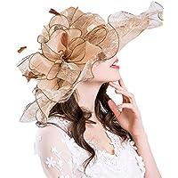 Yiwuhu Flower Adornment Net Gauze Sun Hat Color Puro Junto al Sombrero para el Sol. Simple (Color : Beige)