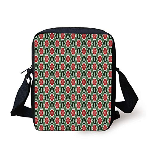 Geometric,Geometric Shapes Frame with Dotted Background Winter Trees Snow Decorative,Reseda and Almond Green Red Print Kids Crossbody Messenger Bag Purse