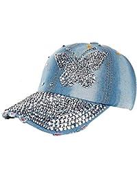 Crystallly Gorra De Béisbol para Mujer Moda Pantalones Vaqueros De Mariposa Estilo  Simple Gorra Puntiaguda Punto c1fc449e3f9