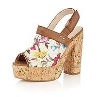 HeelzSoHigh Ladies Dolcis Viennese Tan Peep-Toe Sandals Clog Wedge Platform Pumps Shoes Sizes 3-8
