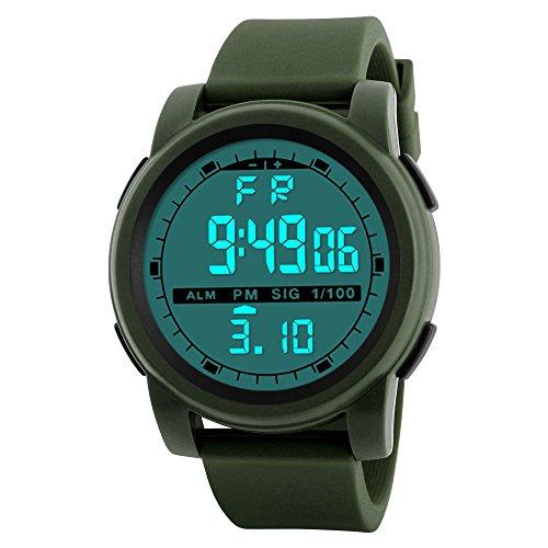 MMHStore Elektronische LED-Uhr der multifunktionalen Outdoor-Sportuhr Wasserdichte Kalender Stoppuhr mit Unisex-Funktion (Grün)