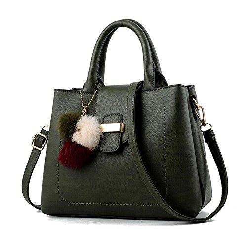 Toopot Sacchetti di spalla delle donne di cuoio dell'unità di elaborazione sacchetto della borsa della borsa di Tote Army Green