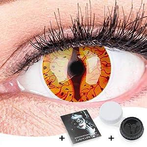 Farbige Feurige Dragon Drachen Kontaktlinsen Ohne Stärke mit Gratis Kontaktlinsenbehälter – Stark Deckend und Intensive Farben – Drogon Reptile Cosplay Lenses für Halloween Fasching