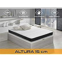 Relaxing-Confort Basic 15 5.0 Colchón Visco Elástico, Algodón-Poliuretano, Blanco/