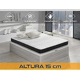 Dormi-Premium-Basic-15-50-Colchn-Visco-Elstico-Algodn-Poliuretano-Blanco-Negro-90-x-190-x-15-cm-Individual