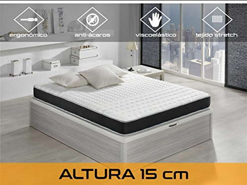 Relaxing-Confort Basic 15 5.0 Colchón Visco Elástico, Algodón-Poliuretano, Blanco/ Negro, 90 x...