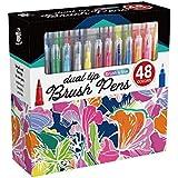 TBC The Best Crafts Juego de 48 rotuladores de acuarela de doble fibra con pincel para caligrafía con doble punta en la escue